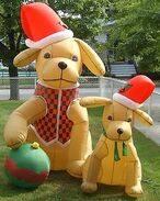 Gemmy inflatable Christmas dogs