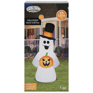 LED Ghost with Hat, 4'
