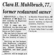 Klara Helene Shultz (1895-1973) obituary in The Record of Hackensack, New Jersey on February 2, 1973