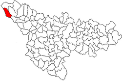 Location of Valcani in Timiș County