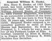 William Edward Ensko (1888-1918) death reported in the Brooklyn Eagle on Thursday, August 15, 1918.png