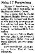 Richard Charles Freudenberg I (1918-1994) obituary in the Jersey Journal on February 22, 1994