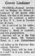 Grover Cleveland Lindauer (1885-1968) obituary in The Record of Hackensack, New Jersey on 10 August 1968