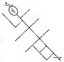 Schematic map of downtown Gloucester, running northwest to southeast