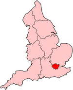 London region shown within England