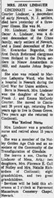 Jennie Louise Courter (1879-1963) obituary in the Daily Register of Red Bank, New Jersey on April 19, 1963.jpg