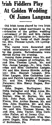 James Langan (1857-1945) and Mary McHugh (born 1858) anniversary in the Jersey Journal on Tuesday, May 26, 1931.png