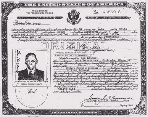 Leopold Kozeny Citizenship Certificate.jpg