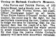 Patrick J. Norton (1856-1905) and John Norton (1861-1905) in a fist fight as reported in the Jersey Journal on Tuesday, May 19, 1891
