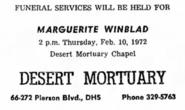 Marguerite Van Rensselaer Schuyler (1891-1972) Winblad funeral notice in the Desert Sentinel on 10 February 1972