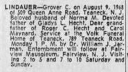 Grover Cleveland Lindauer (1885-1968) funeral notice from The Record of Hackensack, New Jersey on 10 August 1968
