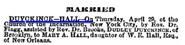 Duyckinck Hall 1875 marriage
