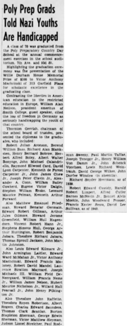 Stephen William Ensko (1922-1944) graduating from Poly Preparatory Country Day School reported in The Brooklyn Daily Eagle of Brooklyn, New York City on 11 June 1941.png