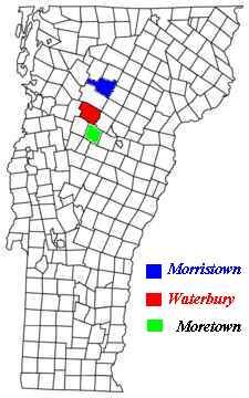 Location of Waterbury and Moretown, Washington Co, VT. James S. was probably born in Moretown, but grew to adulthood in Waterabury. Here he met and married Ellenstackpole.