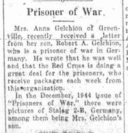 Robert A. Gelchion as a prisoner of war reported on January 18, 1945 in the Greene County Examiner-Recorder.png