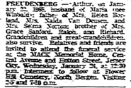 Arthur Oscar Freudenberg funeral notice in the Jersey Journal Tuesday, January 23, 1968
