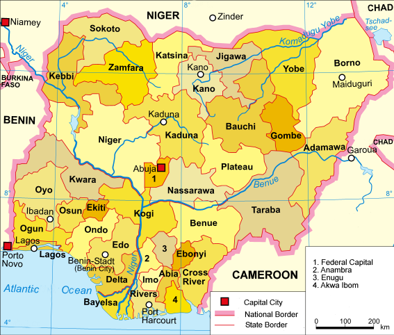 A clickable map of Nigeria exhibiting its 36 states and federal capital territory.