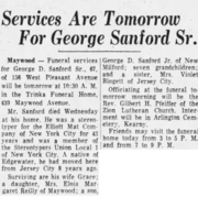 George Dewey Sanford Sr. (1898-1965) obituary in The Record of Hackensack, New Jersey on 10 September 1965.png
