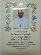 Papal Blessing for 80th Birthday of Maja Jover Banas