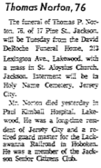 Thomas Patrick Norton I (1891-1968) in the Jersey Journal on January 13, 1968