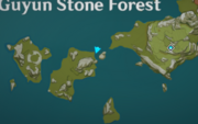 This map shows the location of a Ruins Treasure in Guyun Stone Forest.