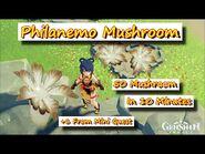 Genshin Impact - 50 Philanemo Mushroom in 10 minutes + 1 One Time NPC Conversation for 6 more