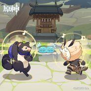 Enemy Hilichurl Slime Bake-Danuki Character Shorts