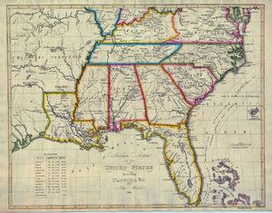 1824 Southern Section of the United States including Florida etc by John Melish 1816 Klinckstroem.jpg