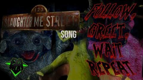 123 SLAUGHTER ME STREET SONG (FOLLOW, GREET, WAIT, REPEAT) LYRIC VIDEO - DAGames