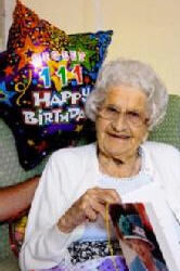 Violet Wood on her 111th birthday