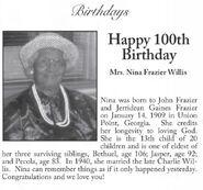 Nina Willis 100th