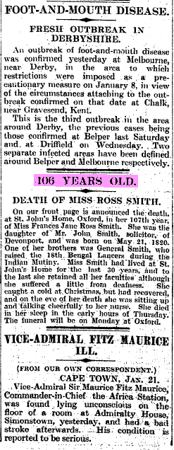 Obituary, The Times, 22 January 1927