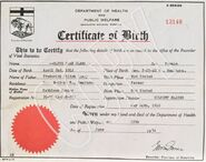 Olive Myhre Birth Certificate - COPY