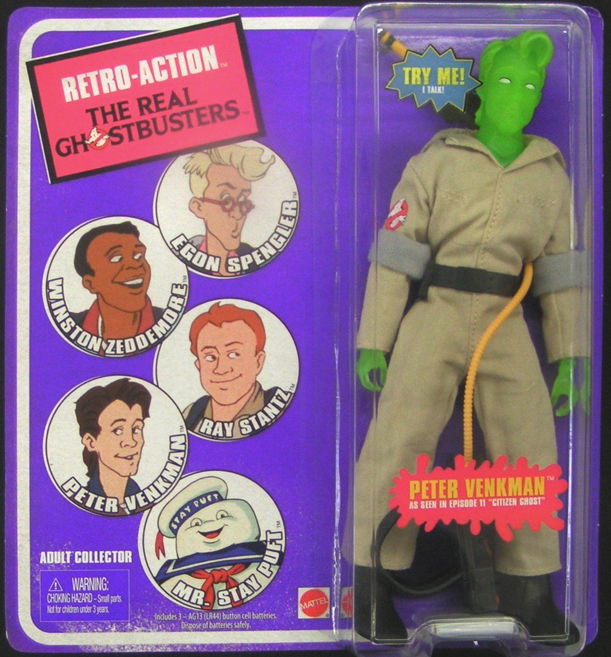 "Matty Collector: Retro-Action The Real Ghostbusters Peter Venkman ""Citizen Ghost"" (Green Variant)"