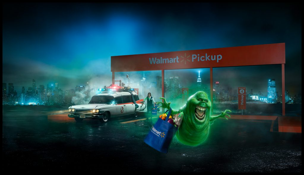"Walmart ""Famous Cars"" advertising related to Ghostbusters"