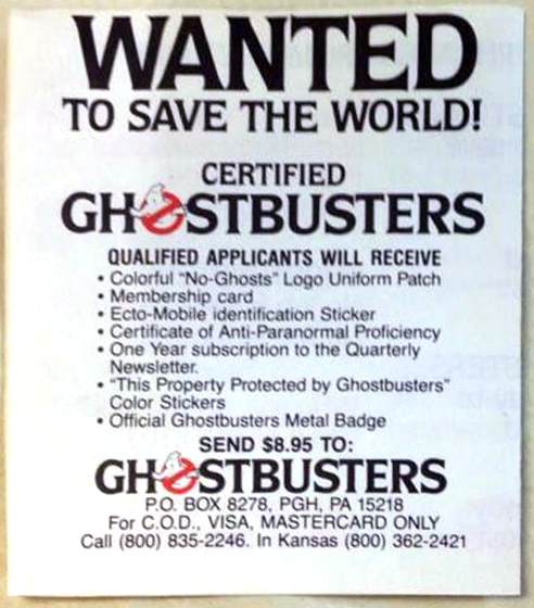 Official Ghostbusters Fan Club (1984)