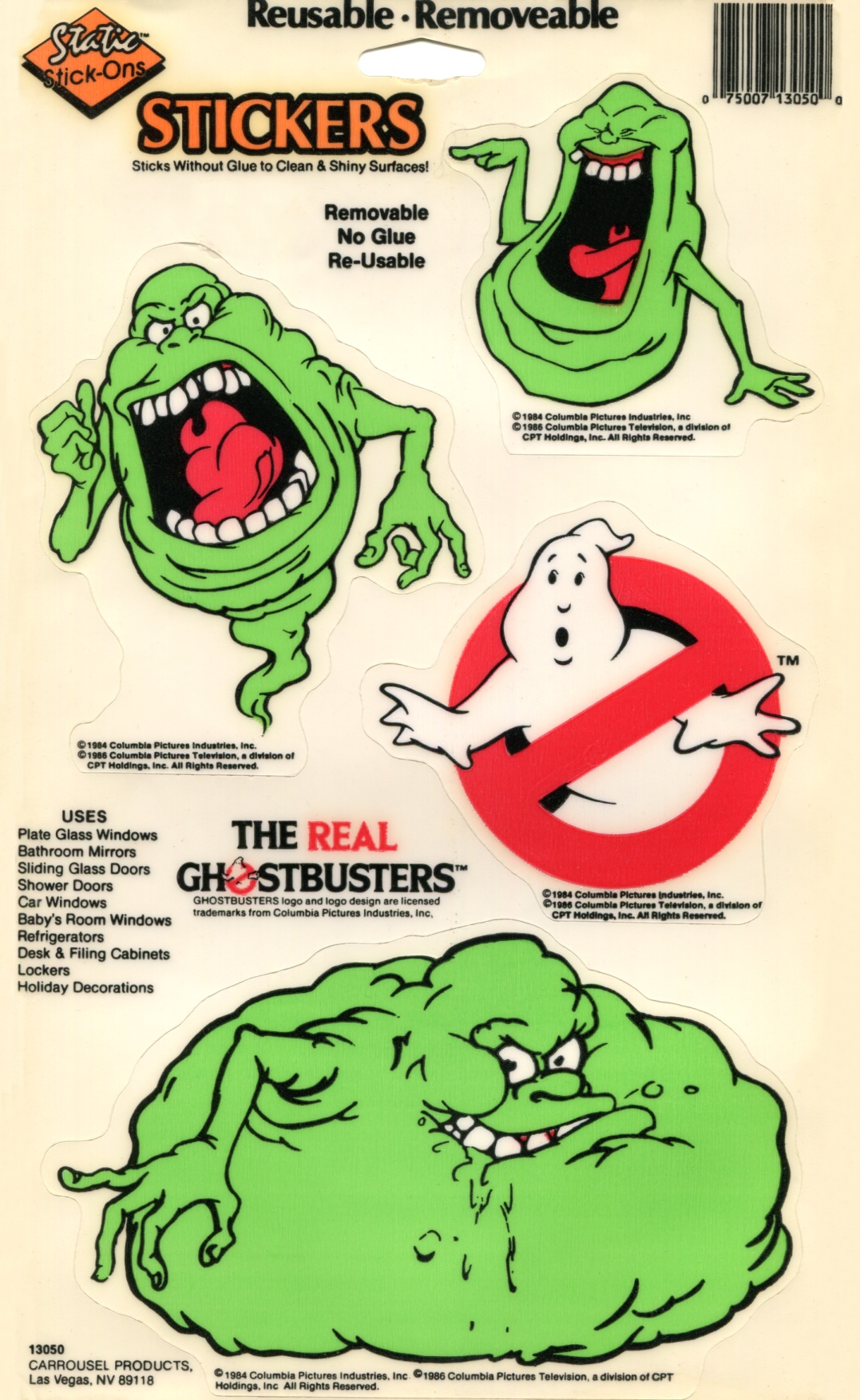 The Real Ghostbusters: Static Stick-Ons (By Dakin and Carrousel Products)