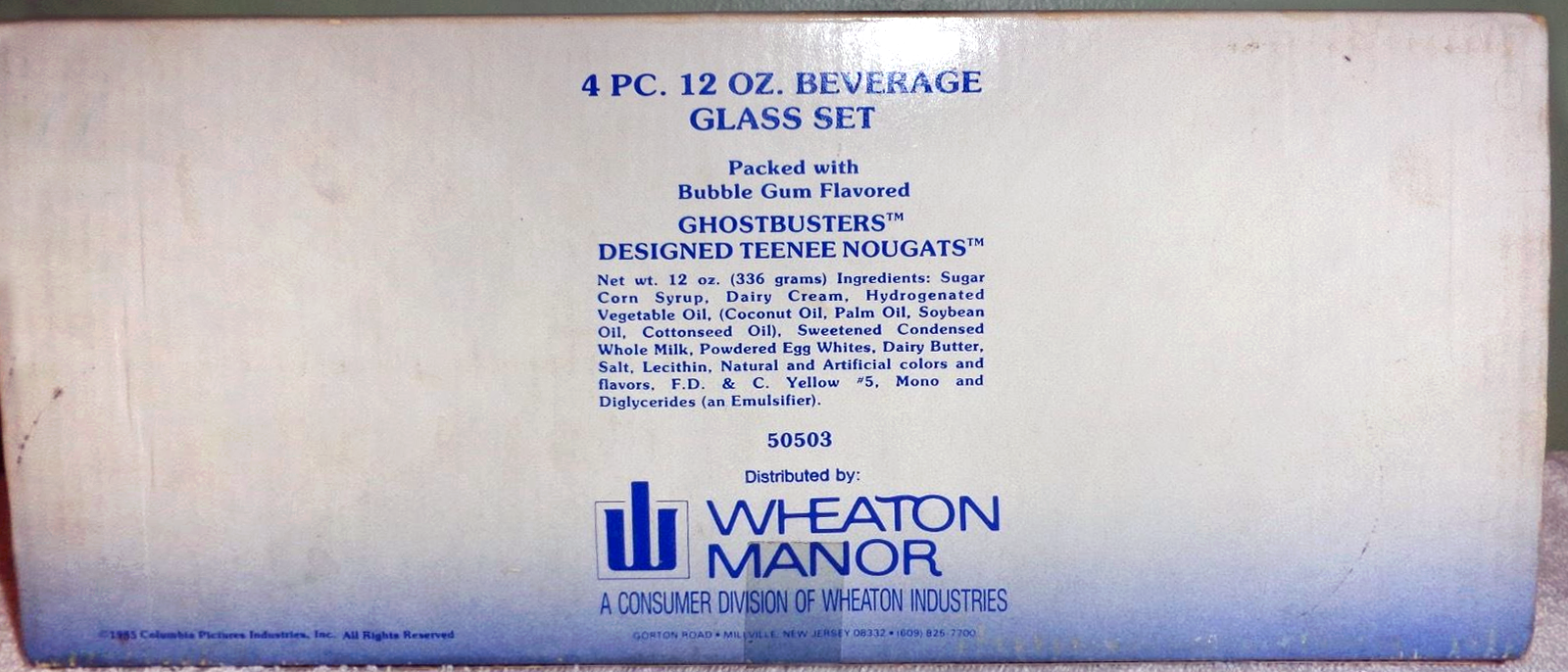 Wheaton Manor Ghostbusters related glass products with edible contents