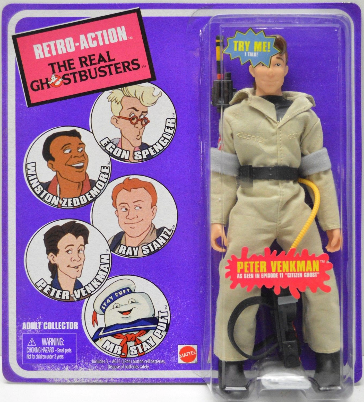 "Matty Collector: Retro-Action The Real Ghostbusters Peter Venkman ""Citizen Ghost"""