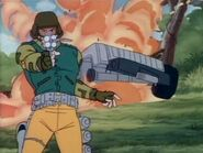 Cpt.Grid-Iron Shooting back with explosion behind him