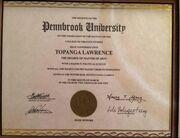 Topanga's College Degree.JPG
