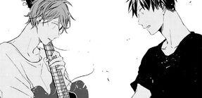 Chapter 9 page 27 panel 5 Mafuyu and Ritsuka watch the string break