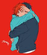 Ritsuka and Mafuyu hugging