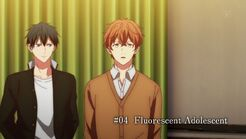 Mafuyu greeting Haruki and Akihiko