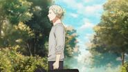 Akihiko walking to school