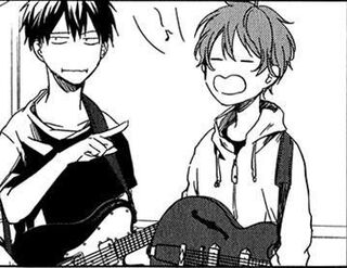 Ritsuka points at Mafuyu manga