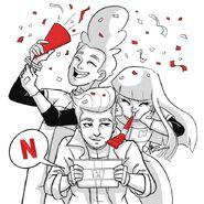 Happy Glitch Day with Five, Mitch and Miko by Julia Presbitero (optberries)