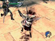 Kratos peleando contra capitanes legionarios