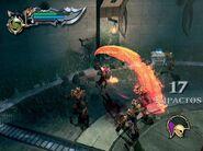 Kratos peleando contra soldados