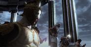 Elio osserva scalata titani monte olimpo assieme Poseidone ermes zeus ade